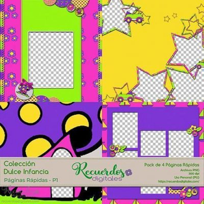 Páginas Rápidas-1, Colección Dulce Infancia. Pack de 4 Páginas pre-elaboradas para tus álbumes de scrapbooking digital. Temática Infantil. Estilo Cute Style