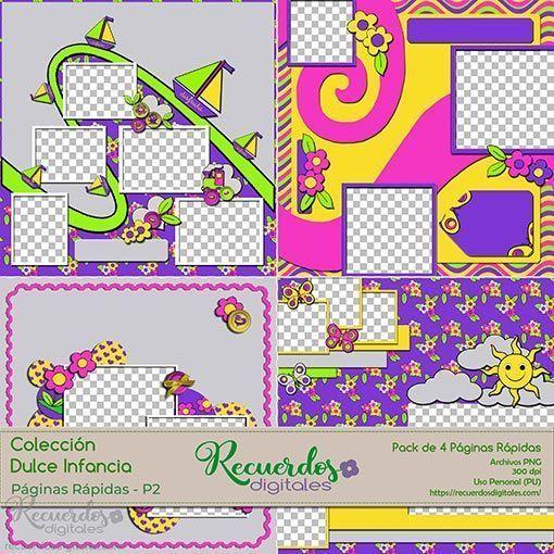 Quick Pages o Páginas Rápidas de temática infantil, Colección dulce Infancia, pack-2