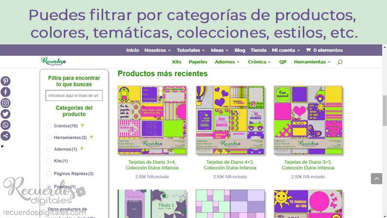 Filtra los productos de la tienda de suministros de scrapbooking digital, de acuerdo a lo que buscas