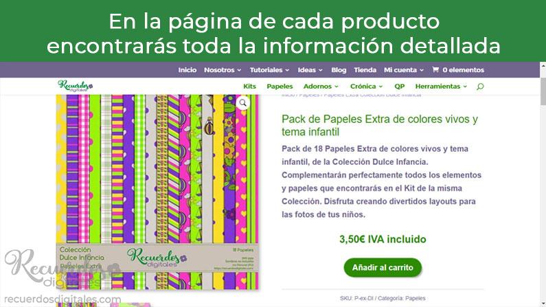 En la página de cada producto encontrarás información detallada sobre el mismo
