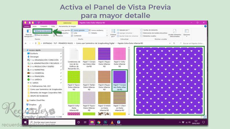 Activa el Panel de Vista Previa, para ver tus suministros de scrapbooking digital con más detalle