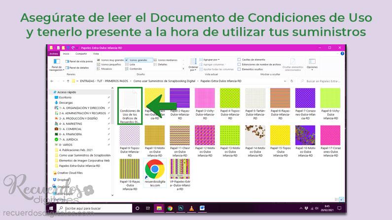Las carpetas de suministros que adquieras incluyen un Documento de Condiciones de Uso de los Gráficos