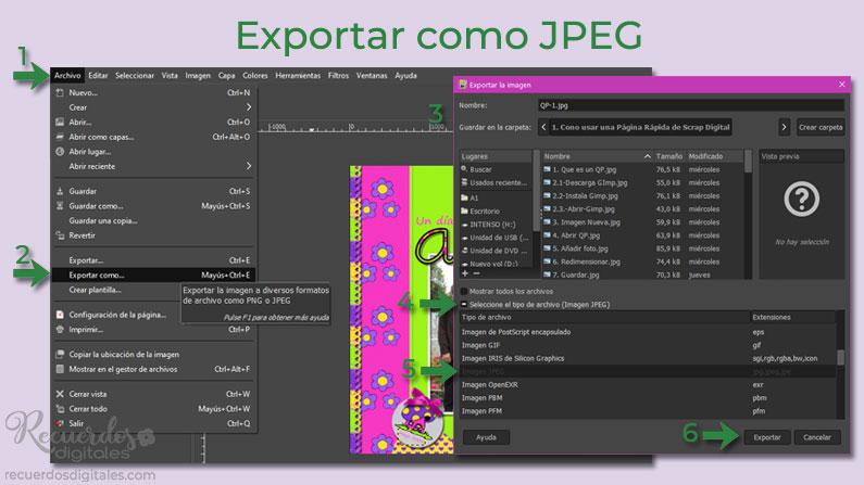 Guarda tu layout terminado en formato JPEG: Exportar como JPEG