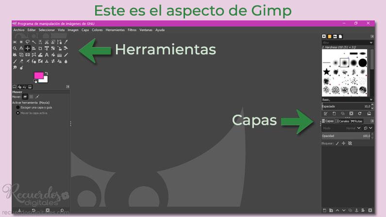 Abre Gimp. Este es el aspecto de la interfaz de Gimp