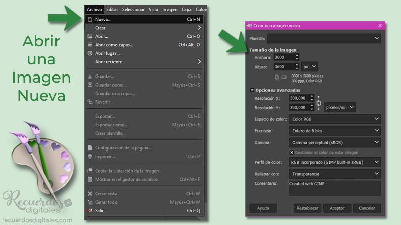 Abre una Imagen Nueva en Gimp, para albergar tu layout