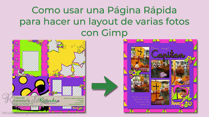 Como usar una Página Rápida para hacer un layout de varias fotos con Gimp