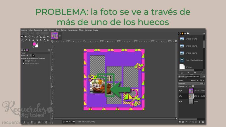 Como los huecos están muy juntos, la foto se ve a través de más de uno de los huecos