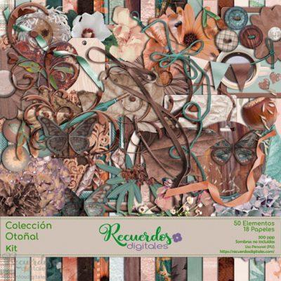 Kit para scrapbooking digital, de la Colección Otoñal. Consta de 18 papeles y 50 elementos decorativos para documentar tus fotos de otoño