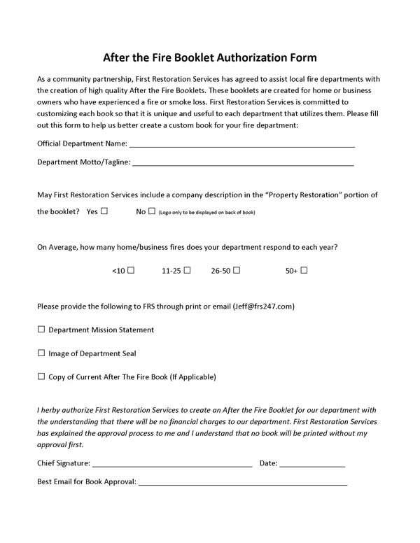 fire book authorization form