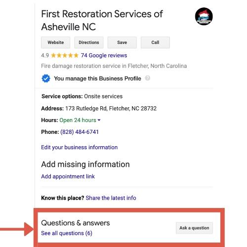Google Q&A section