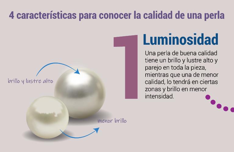 Luminosidad. Una perla de buena calidad tiene un brillo y lustre alto y parejo en toda la pieza, mientras que una de menor calidad, lo tendrá en ciertas zonas y brillo en menor intensidad.