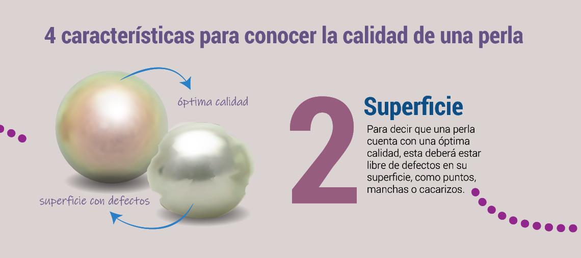 Superficie Para decir que una perla cuenta con una óptima calidad, esta deberá estar libre de defectos en su superficie, como puntos, manchas o cacarizos.