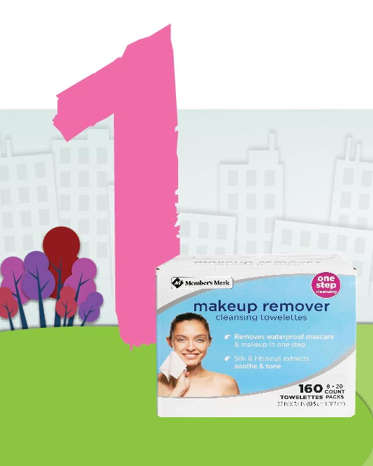 1. Makeup remover, toallas desmaquillantes, Members's Mark