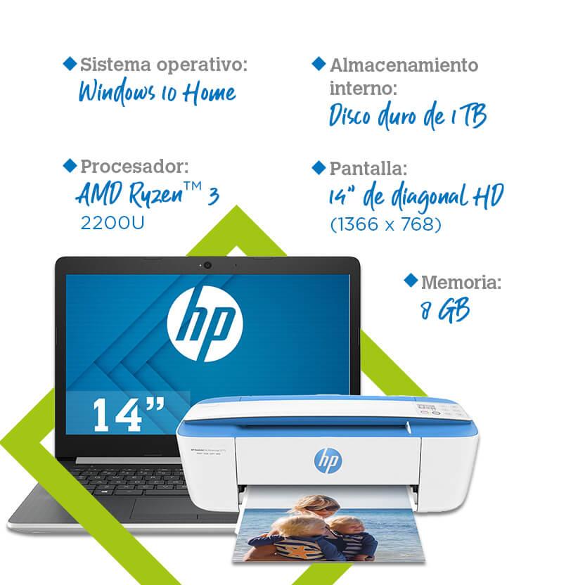 Laptop HP 14-cm 0008la + multifuncional