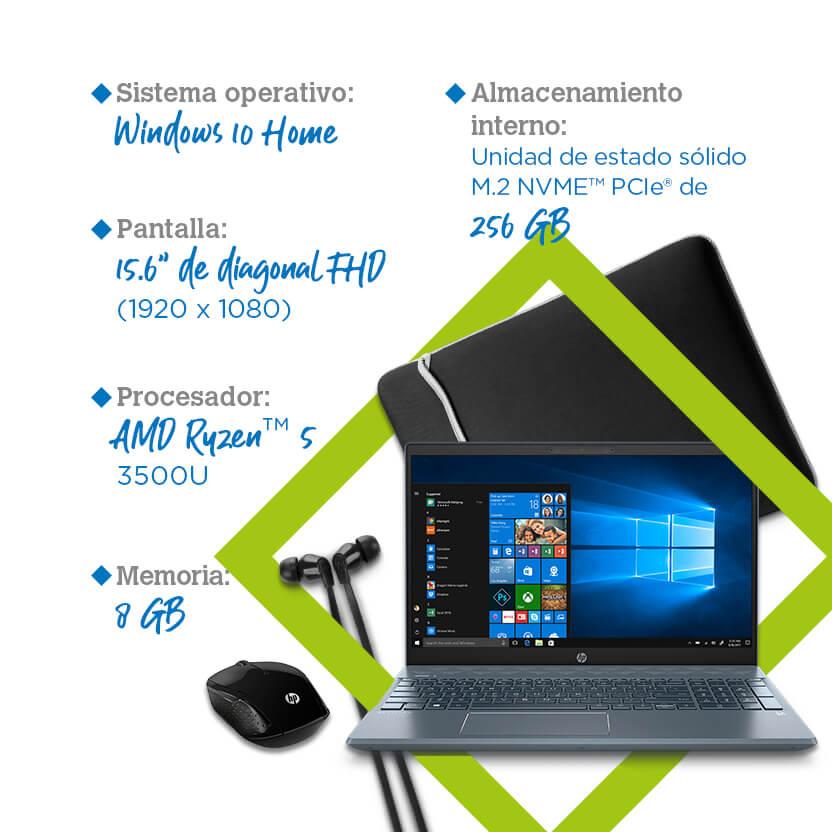 Laptop HP Pavillion 15-cw1011la Bundle + audífonos + sleeve y mouse