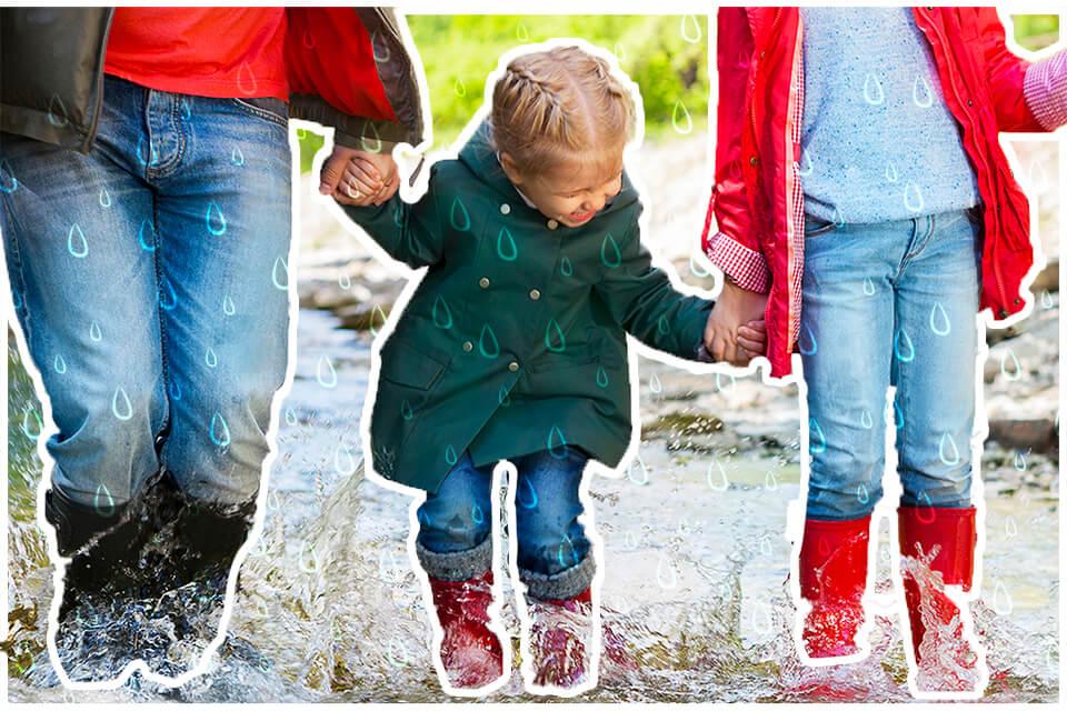 Familia en la lluvia
