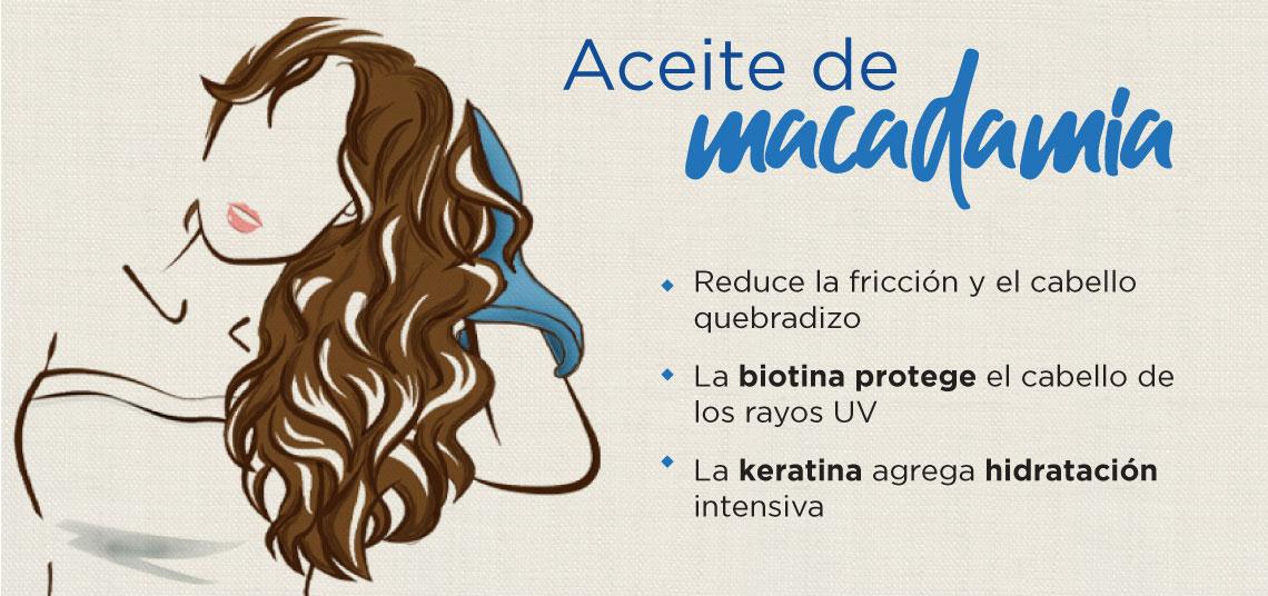 Aceite de macadamia. La biotina protege el cabello de los rayos UV