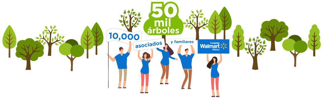 Asociados de Walmart México siembran 50,000 árboles en solo dos meses