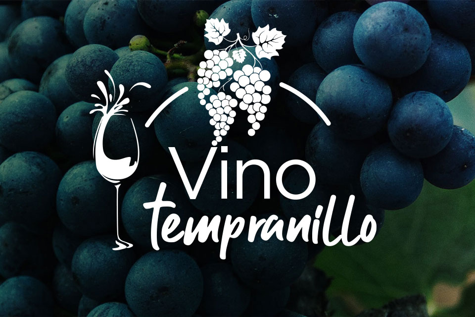 Logo de vino tempranillo con uvas de fondo