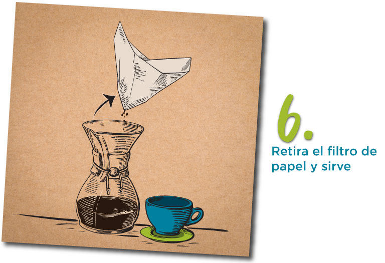6. Retira el filtro de papel y sirve