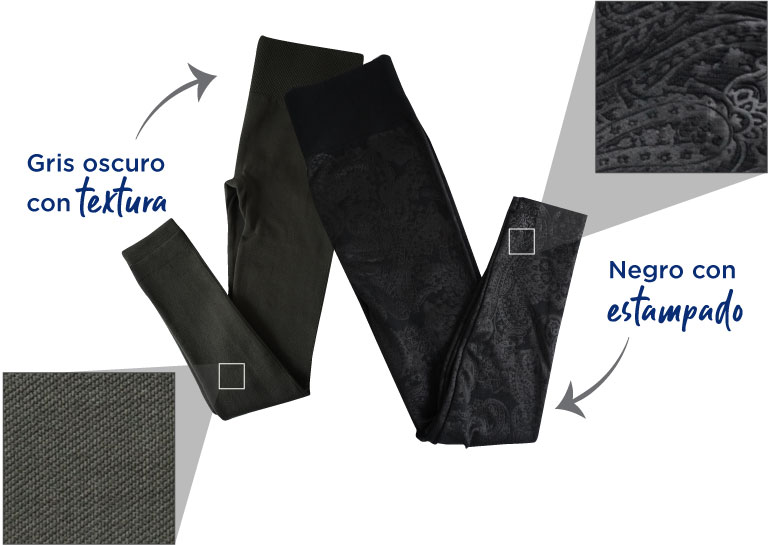 leggings. gris oscuro con textura.  leggings. Negro con estampado
