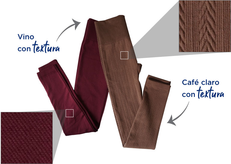 Leggings. color vino con textura. y café claro