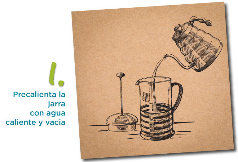 1. precalienta la jarra con agua caliente y vacia