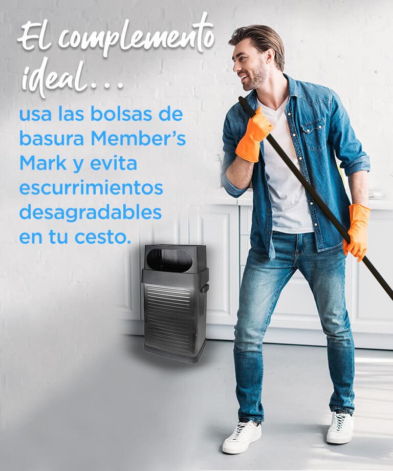 El complemento ideal... usa las bolsas de basura Member's Mark y evita escurrimientos desagradables en tu cesto.