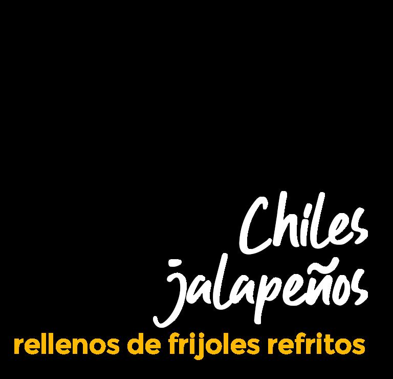 Chiles jalapeños rellenos de frijoles refritos