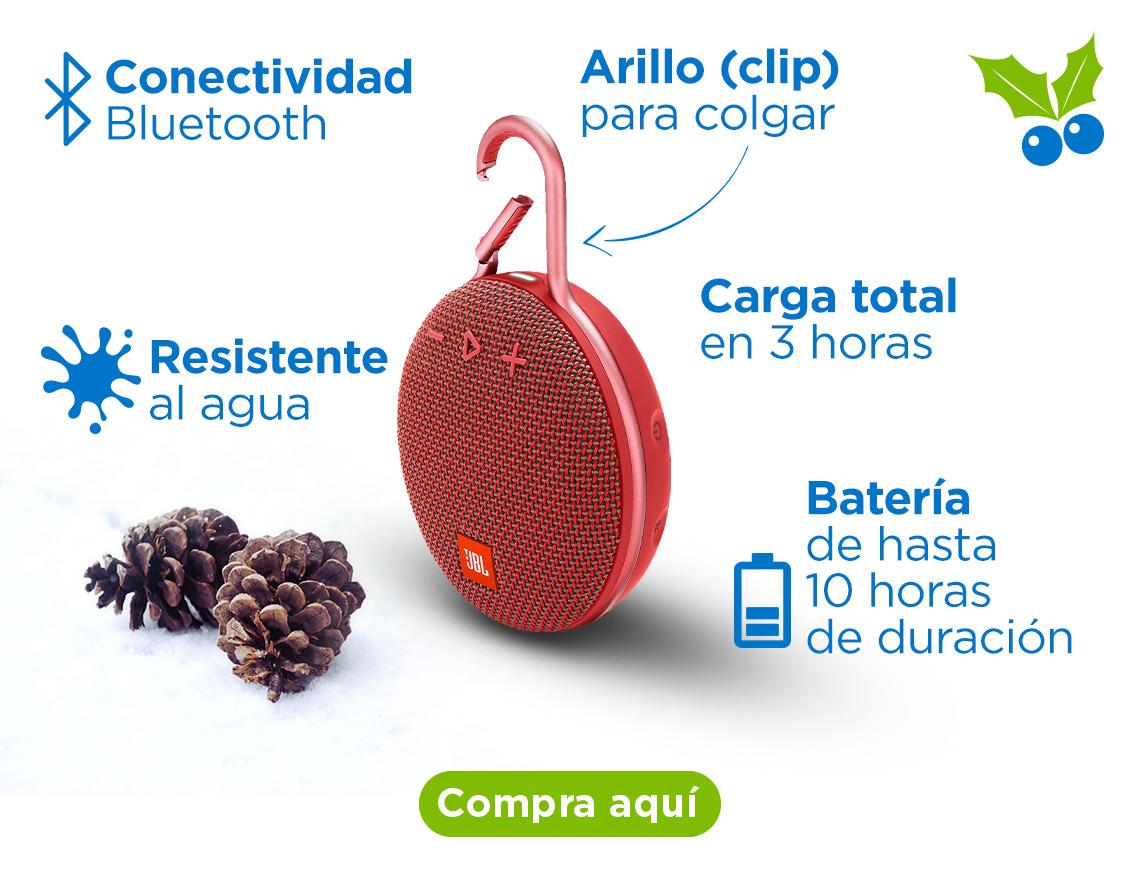 Bocina inalámbrica JBL Clip 3 Conectividad Bluetooth Resistente al agua Arillo (clip) para colgar Batería de hasta 10 horas de duración Carga total en 3 horas