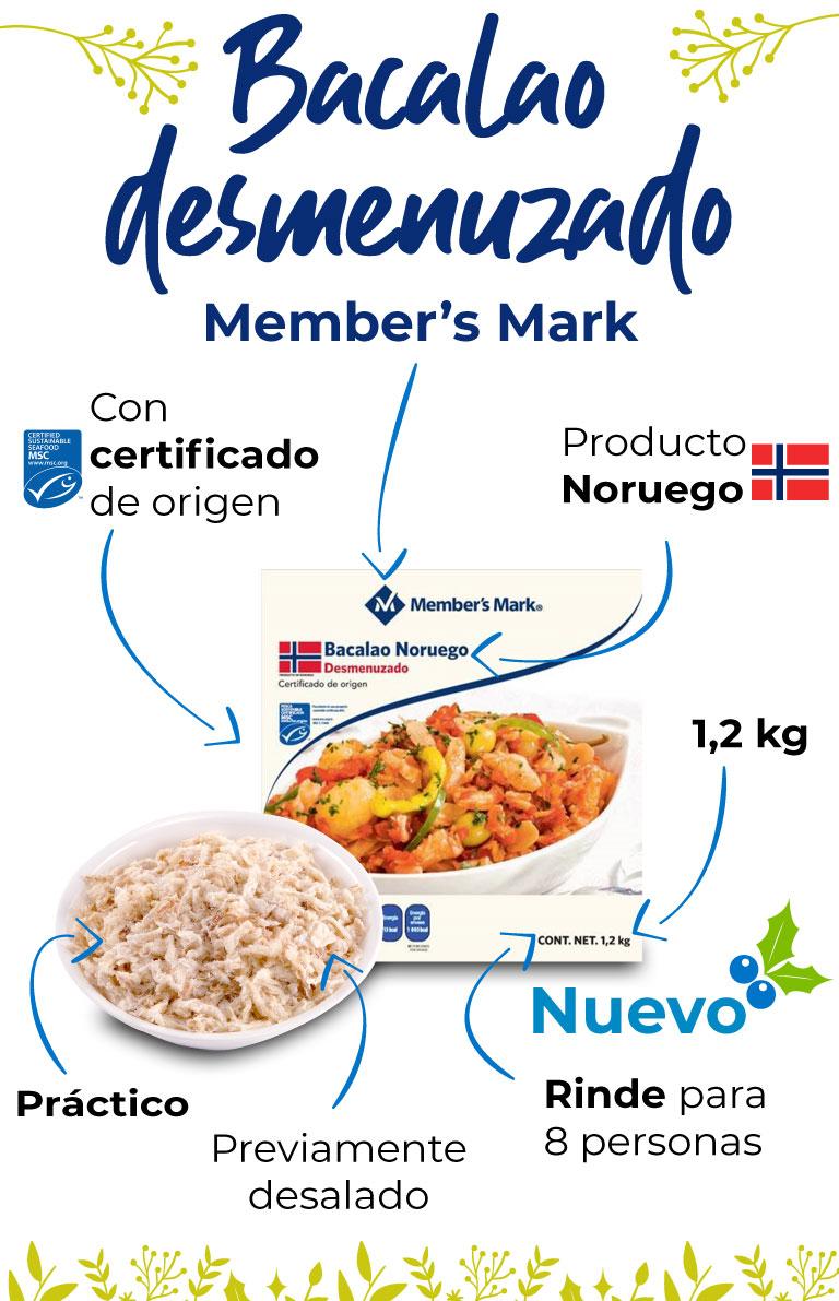 Bacalao desmenuzado Member's Mark, producto noruego. con certificado de origen. Previamente desalado