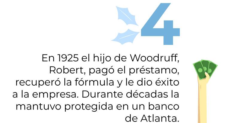 En 1925 el hijo de Woodruff, Robert, pagó el préstamo, recuperó la fórmula y le dio éxitoa la empresa. Durante décadas la mantuvo protegida en un banco de Atlanta.