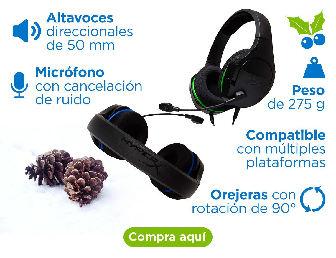 Audífonos Hyper X Altavoces direccionales de 50 mm Orejeras con rotación de 90° Peso de 275 g Micrófono con cancelación de ruido Compatible con múltiples plataformas