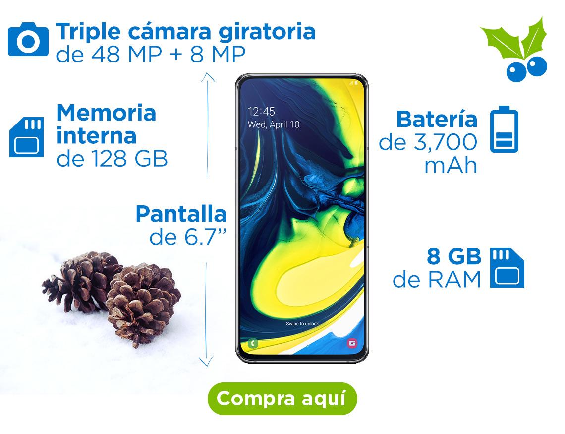 """Samsung Galaxy A80 Pantalla de 6.7"""" Triple cámara giratoria de 48 MP + 8 MP Memoria interna de 128 GB Batería de 13 horas de duración en uso de internet Grabación de video en 4K (3840 x 2160) y slow motion (480 fps)"""