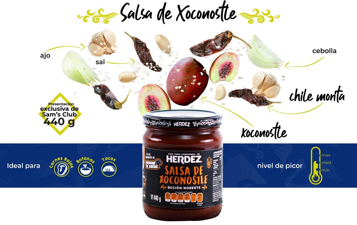 Salsa de Xoconostle, presentación exclusiva de Sam's Club, 440 g, ideal para carnes rojas, botanas y tacos.