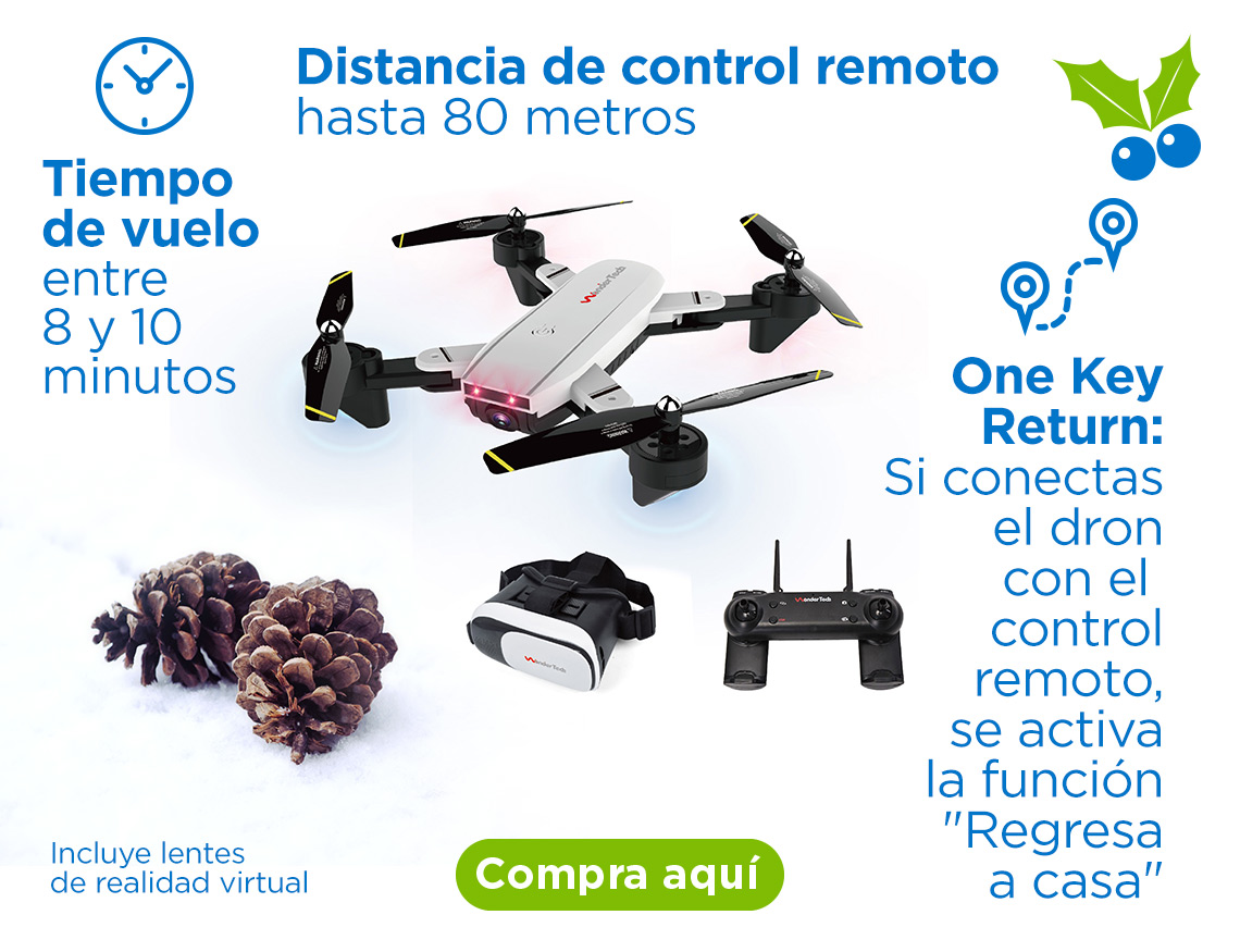 Dron Wondertech Frecuencia de 2.4 GHz que elimina la interferencia Tiempo de vuelo de hasta 10 minutos Distancia de vuelo de hasta 150 metros Tecnología One Button Return to Home Incluye lentes de realidad virtual