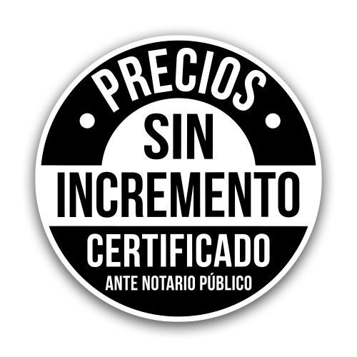 Precios sin incremento, certificado