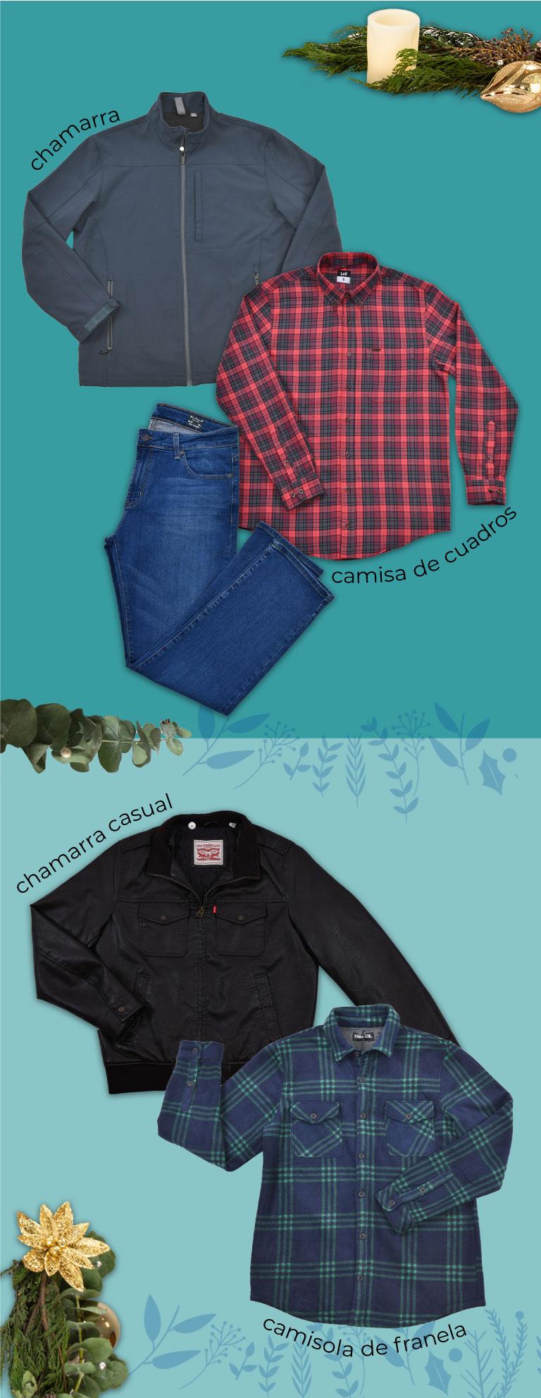 chamarra, camisa de cuadros, pantalón de mezclilla, chamarra casual, camisola de franela
