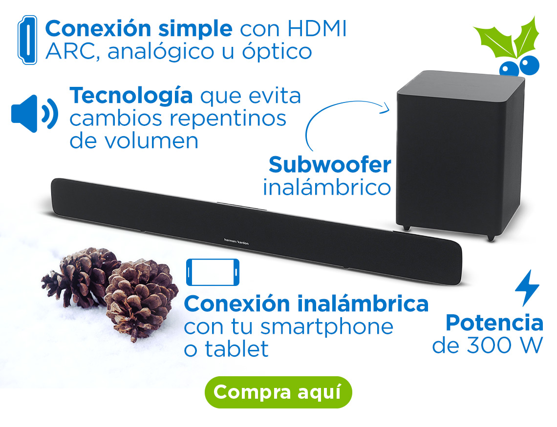 Barra de sonido Harman Kardon Potencia de 300 W Conexión simple con HDMI ARC, analógico u óptico Subwoofer inalámbrico Tecnología que evita cambios repentinos de volumen Conexión inalámbrica con tu smartphone o tablet