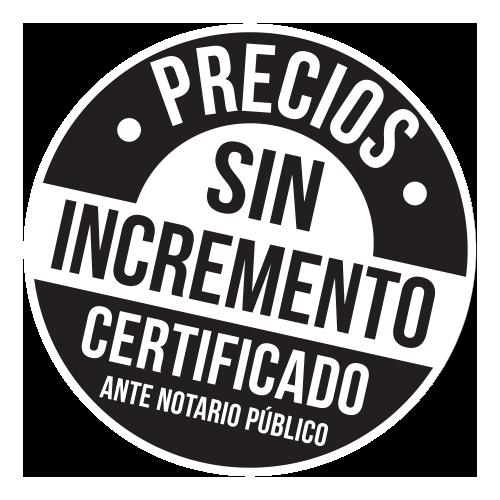 sello precios sin incremento certificado