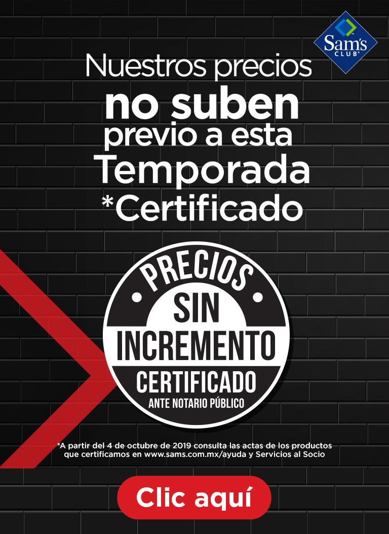 certificación precios sin incremento