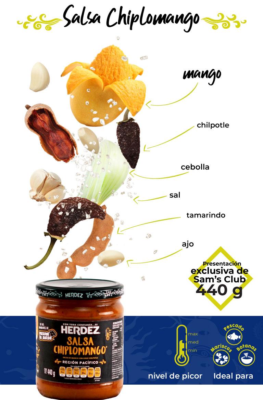 Salsa chiplomango. presentación exclusiva de Sam's Club, 440 g, ideal para mariscos, pescado y botanas.