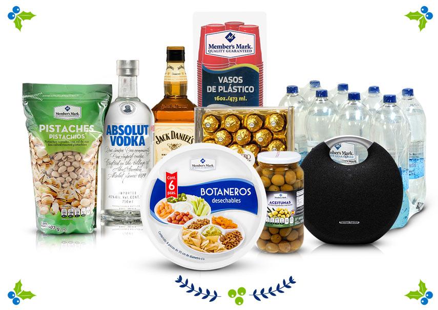 Vodka Absolut (000025601) · Whisky Jack Daniel's Honey (000092304) · Botaneros desechables Member's Mark (000099660) · Aceitunas Member's Mark (000067773) · Pistaches Member's Mark (000111419) · Chocolates Ferrero Rocher (000791018) · Bocina inalámbrica Harman Kardon (980011983)