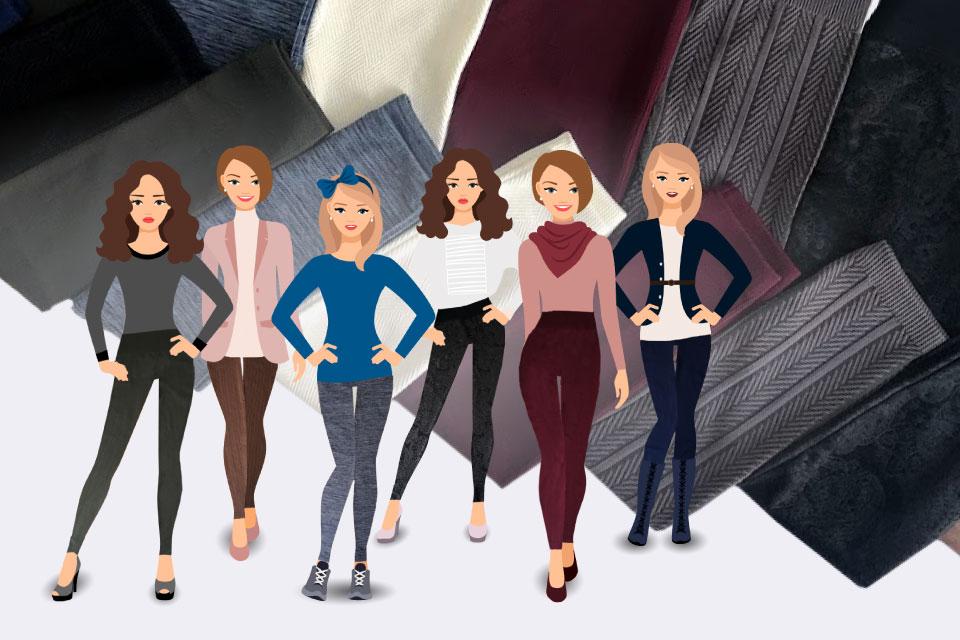 Ilustración mujeres modelando outfits en base a sus leggings