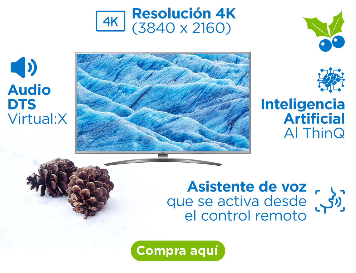 "Smart TV LG de 50"" 4K Inteligencia Artificial LG ThinQ AI Resolución 4K (3840 x 2160) Procesador Quad Core Audio DTS Virtual:X Asistente de voz que se activa desde el control remoto"