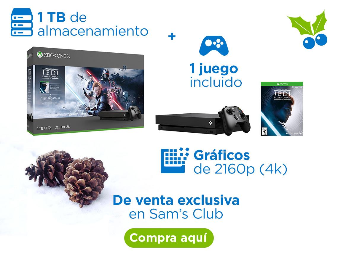 Xbox One X + 1 juego 1 terabyte de almacenamiento Gráficos de 2160p (4k) Memoria gráfica de 12 GB GDDR5 Ancho de banda de memoria de 326 GB/s 1 juego incluido