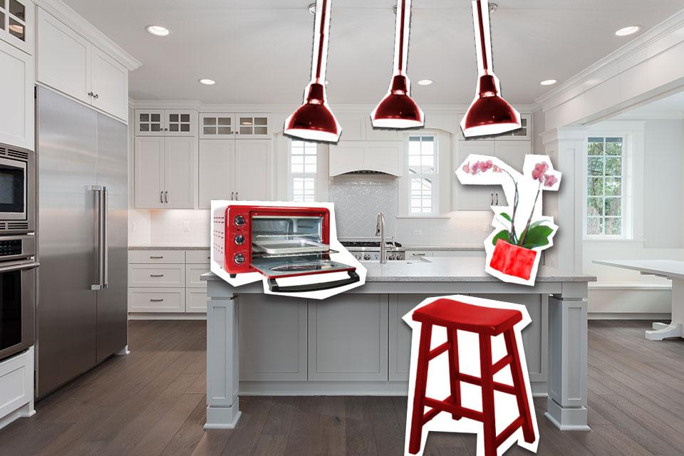 Cocina con mobiliario rojo sobrepuesto