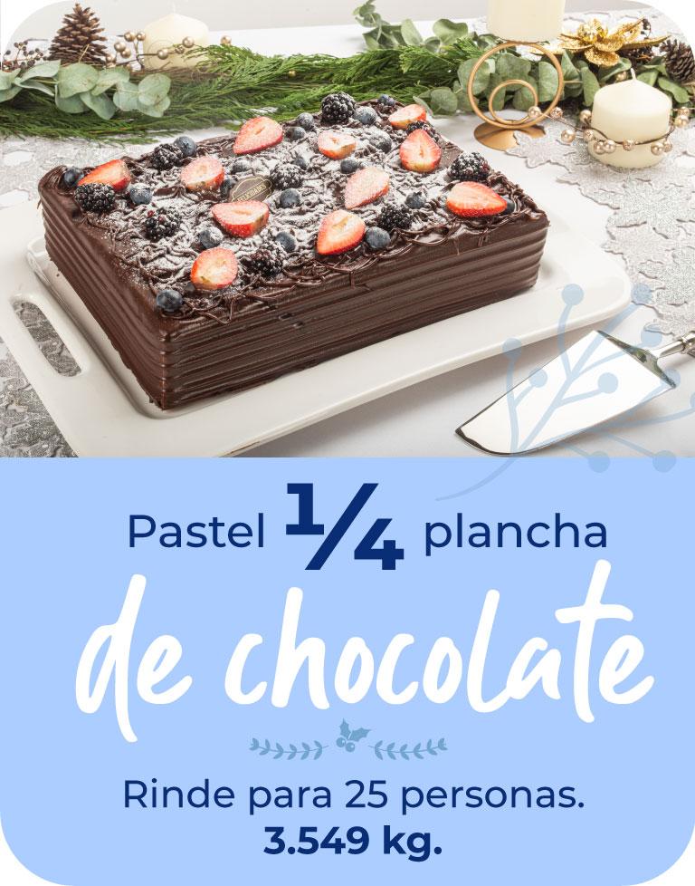 pastel 1/4 plancha de chocolate. Rinde para 25 pesonas. 3.549 kg