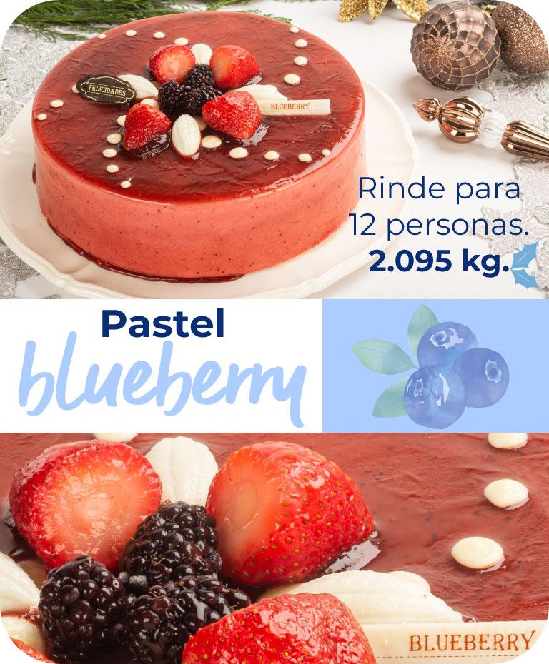 pastel blueberry. Rinde para 12 personas. 2.095 kg.