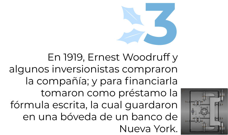 En 1919, Ernest Woodruff y algunos inversionistas compraron la compañía; y para financiarla tomaron como préstamo la fórmula escrita, la cual guardaron en una bóveda de un banco de Nueva York.